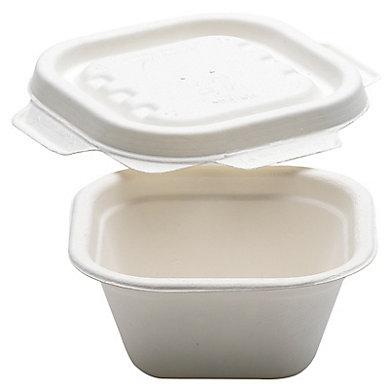 Barquette en pulpe de canne à sucre avec couvercle