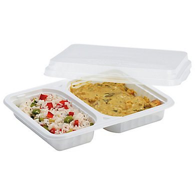 Assiette rectangulaire 2 compartiments (photo)